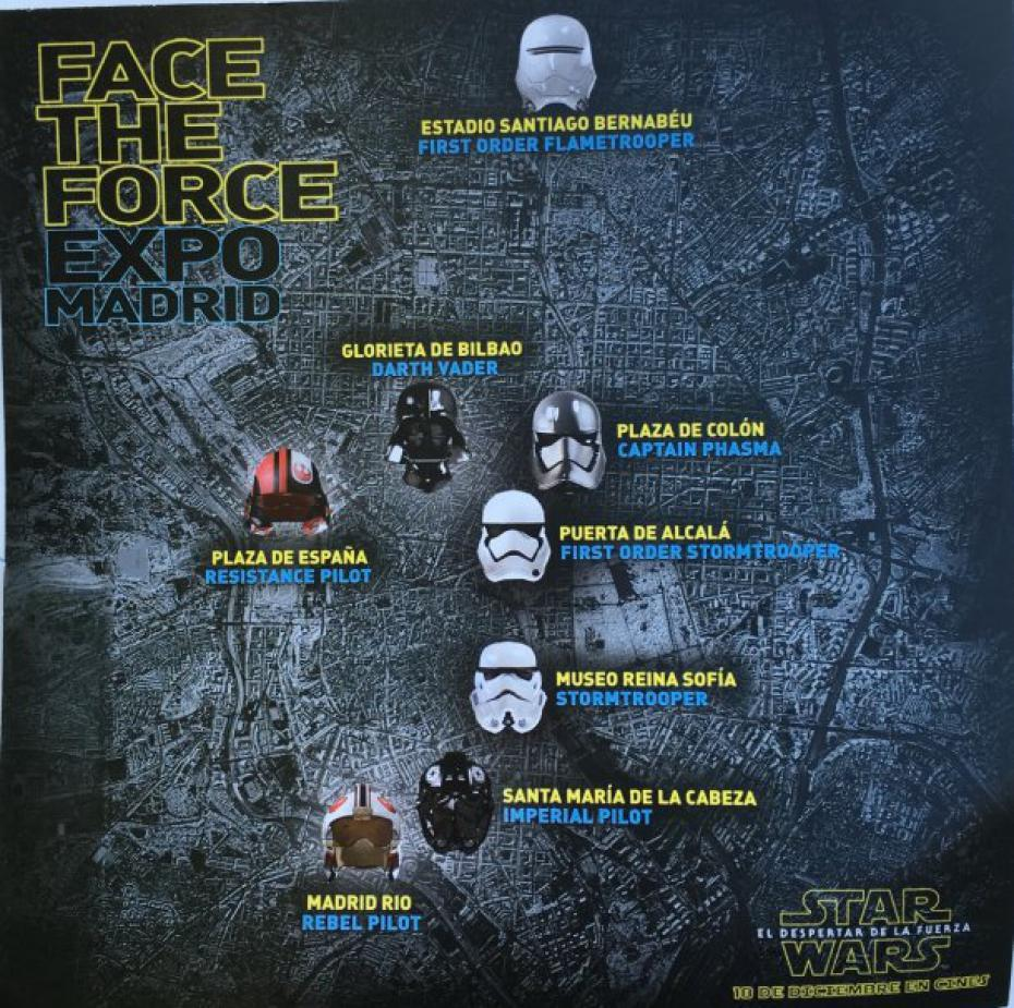 Mapa de los cascos de Star Wars Face the Force en Madrid