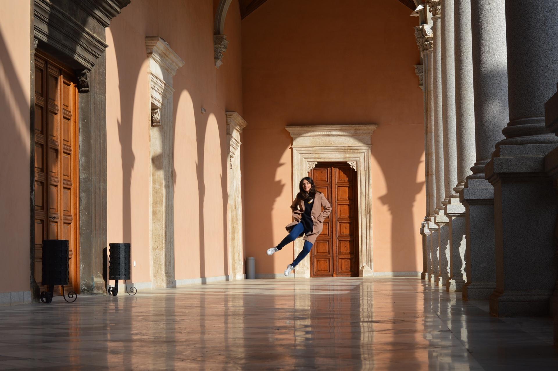 Pilar practicando el famoso salto de Carballo