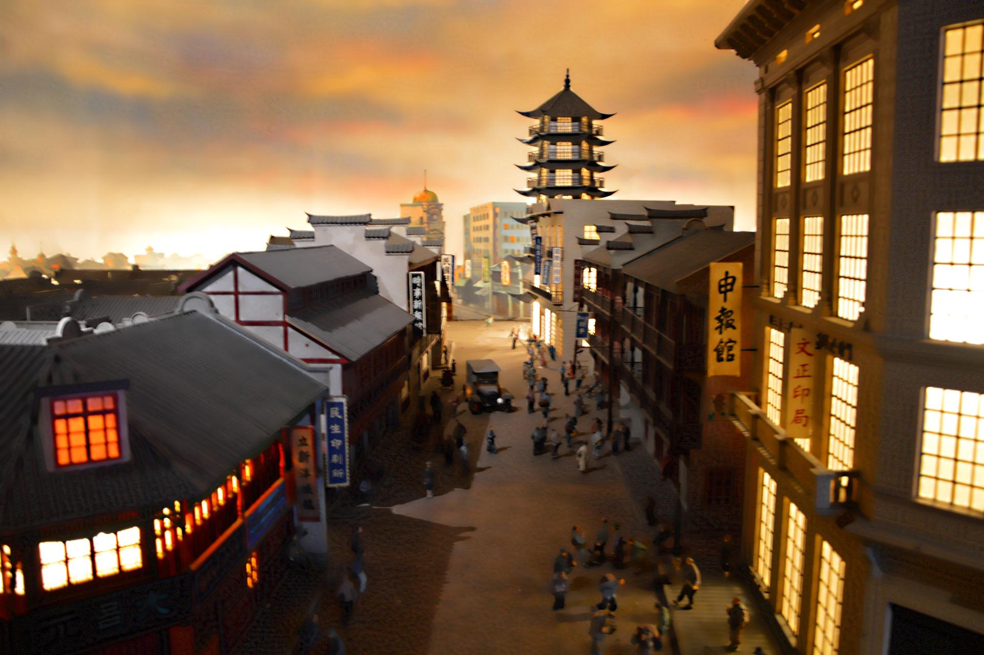 Recreación de Shanghai en el museo de la Torre de la Perla Oriental